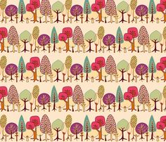 Forest: Trees fabric by bronhoffer on Spoonflower - custom fabric - isla bedding