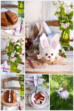 Blancheline, la jolie Lapinette de Pâques  ♥ Sans œufs ♥ Sans lait ♥ Vegan ♥ IG Bas ♥ Lait Vegan, Desserts Sains, Recipies, Birthdays, Easter, Table Decorations, Party, Week End, Collages