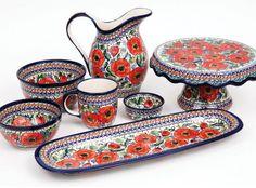 """Pottery set in a """"poppy"""" pattern by Zakłady Ceramiczne, Polish pottery. Click to enlarge"""