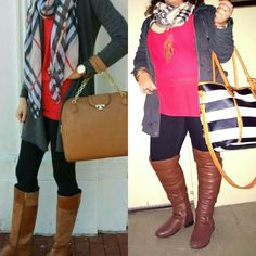 Fall outfit - red blouse, black jeans/leggings, brown boots, gray parka, plaid scarf/ Burberry scarf. #repost #fall #weather #pinterest #plussize