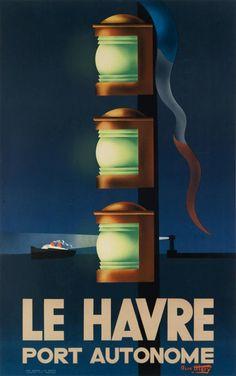On the way back from our brief Parisian excursion we are obliged to pause in Le Havre for this strikingly bold René Mery-designed poster which looks as though it dates from the Salvador Dali, Maurice Utrillo, Travel Ads, Railway Posters, Le Havre, Art Deco Era, Advertising Poster, Vintage Travel Posters, Art Deco Fashion