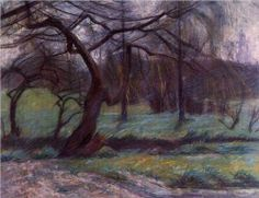 Moorland (1908). Pastel on paper, executed in Milan by Italian artist Umberto Boccioni (1882-1916).