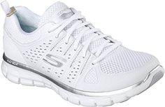 Skechers Sport Women's Synergy Look Book Fashion Sneaker,White/Silver,7.5 - Skechers sneakers for women (*Amazon Partner-Link)