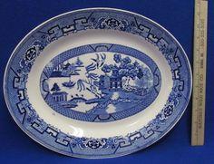 "Vintage Homer Laughlin Blue Willow Oval Platter Oriental Style Design 14"" x 11"" #HomerLaughlin"