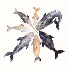 Whale Pod  Archival Print by unitedthread on Etsy, $20.00