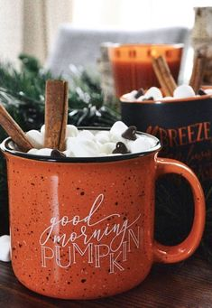 Hot cocoa in this good morning pumpkin mug! Hot cocoa in this good morning pumpkin mug! Autumn Cozy, Autumn Morning, Autumn Coffee, Fall Winter, Autumn Aesthetic, Fall Wallpaper, Book Wallpaper, Happy Fall Y'all, Autumn Activities