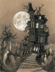 Haunted house art by Lenka Simeckova