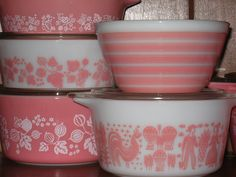 Pink Pyrex  - I especially like the stripey bowl