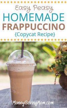 Save money by making your regular frappuccino at home! This is an easy homemade frappuccino recipe everyone loves! Save money by making your regular frappuccino at home! This is an easy homemade frappuccino recipe everyone loves! Moca, Blended Coffee Drinks, Frozen Coffee Drinks, Blended Coffee Recipes, Cold Coffee Drinks, Frozen Coffee Recipe With Instant Coffee, Blended Mocha Recipe, Homemade Frappuccino, Vegan Frappuccino Recipe