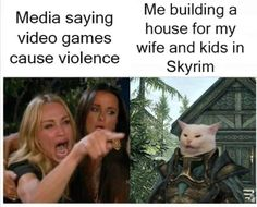 "Thirty-Three Skyrim Memes For The Children Of The Sky - Funny memes that ""GET IT"" and want you to too. Get the latest funniest memes and keep up what is going on in the meme-o-sphere. Memes Humor, Funny Gaming Memes, Cat Memes, Funny Humor, Funny Stuff, Wife Memes, 9gag Funny, Fun Funny, Funny Texts"