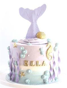 Mermaid cake – For all your cake decorating supplies, please visit www.craftcomp… Mermaid cake – For all your cake decorating supplies, please visit www. Mermaid Birthday Cakes, Cute Birthday Cakes, Birthday Ideas, Birthday Desserts, Fifth Birthday Cake, Birthday Cakes Girls Kids, Baby Girl Birthday Cake, Fondant Cakes, Cupcake Cakes