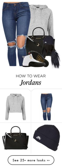 """Untitled #342"" by miyah-dauneya on Polyvore featuring Topshop, MICHAEL Michael Kors, TAXI and NIKE"