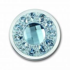 Mi Moneda Vivo coin in Ice Blue. New for summer 2014 this stunning coin looks perfect when set in the sterling silver pendant.  Available in Large size only.  Also comes in Lavender and Champagne versions