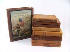Vintage Earthtone Books  Brown Tan Decorative by FineLineTreasures, $49.00