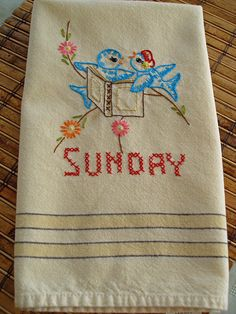 I love days of the week hand-stitched kitchen towels! SO FUN!