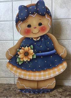 Muñecas country Gingerbread Crafts, Gingerbread Decorations, Gingerbread Man, Christmas Craft Fair, Christmas Snowman, Wooden Wall Art, Wood Art, Tole Painting Patterns, Wood Patterns