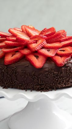 Really all you need to know about this cake are the words strawberry and chocolate. The post Strawberries and Cream Stuffed Chocolate Cake appeared first on Dessert Park. Strawberry Cream Cakes, Chocolate Strawberry Cake, Strawberry Recipes, Strawberries And Cream, Chocolate Cake, Chocolate Cream, Crema Chocolate, Homemade Chocolate, Mini Cakes