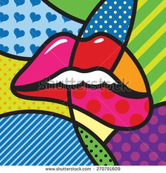 Lips. Sexy. Kiss. Love. Modern pop art artwork for your design - stock vector