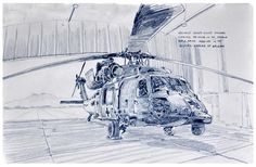 Specialist Ashley Nicole Williams cleans a Black Hawk Medevac helicopter in Bagram Airfield by News illustrator Richard Johnson.