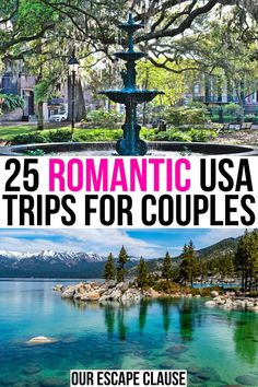 Hoping for a weekend getaway with your sweetie soon Check out these romantic USA getaways romantic getaways in usa weekend trips for couples valentines day trips for couples Us Travel Destinations, Romantic Destinations, Romantic Vacations, Romantic Travel, Places To Travel, Romantic Places, Cheap Honeymoon Destinations, Honeymoon Getaways, Family Vacation Destinations