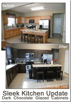 Sleek Dark Chocolate Painted Cabinets! Kitchen Cabinet Transformations by Rustoleum. This is exactly (including the hardware) what we want to do in our kitchen.