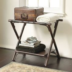 faux bamboo folding luggage rack great in a guest room bathroom or