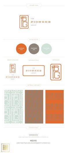 Emily McCarthy Branding Design | The Pioneer Group Branding Board