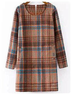 Long Sleeve Checked Wool Blend Dress (Colormix)