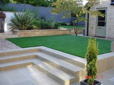 Steps from artificial lawn