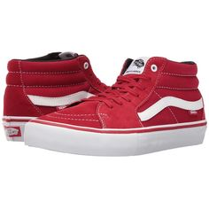 Vans Sk8-Mid Pro (Scarlet/White) Men's Skate Shoes ($70) ❤ liked on Polyvore featuring men's fashion, men's shoes, men's sneakers, mens skate shoes, mens white high top shoes, vans mens shoes, mens high tops and mens high top shoes