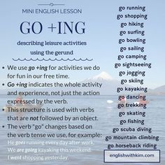 Go + Ing: describing leisure activities using the gerunds