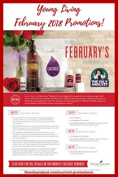 Young Living's February 2018 Promotions! Click this graphic! Ready to Join? Go to www.theoilyanalyst.com/essential-oils today! | Young Living | Essential Oils | Freebies | Promotions | Promos | Sclaressence Vitality | Patchouli | Lavender Bath Bombs | V-6 Carrier Oil | Sensation | The Oily Analyst