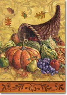 "CORNUCOPIA  WITH PUMPKIN THANKSGIVING FALL AUTUMN YARD GARDEN FLAG 12.5""  X 18"" #Windswept    Available for only $6.99"