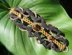 macrame bracelet with tiger eye stone in the center