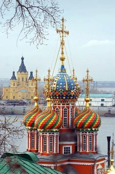 Colorful domes of Russian churches, Moscow, Russia