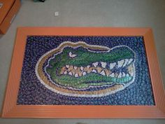 Florida Gator from beer bottle caps Beer Cap Art, Beer Bottle Caps, Bottle Cap Art, Beer Caps, Bottle Top Crafts, Bottle Cap Projects, Beer Cap Crafts, Gator Football, Woman Cave