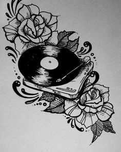 An idea for a traditional style music tattoo. Record player & floral design.