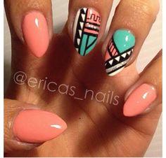 Coral Tribal Nails