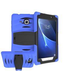 Galaxy Tab A 7.0 Case, Samsung SM-T280 Case, Yxim 360 Full-body Protective Built-In Screen Protector Silicon Rubber Hybrid Hard Durable Shockproof Shock Absorbent Kickstand Cover (Blue) *** Be sure to check out this awesome product.