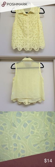☀️Yellow lace Do&Be sleeveless top NWOT ☀️ Wear alone as a top or tie it over a dress or top for a cute layered look.  Lace front sheer back.  19 inches from shoulder to hem.  18 inches from armpit to armpit.  Never worn. Do & Be Tops