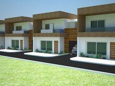 Fachadas-de-sobrados-geminados construídos com tijolos de solo-cimento