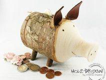Sparschwein Holz Spardose Geldgeschenke Schwein