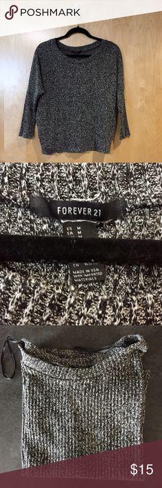 Black & white marled knit 3/4 sleeve sweater Black & white marled (gray) thin knit loose slouchy sweater. 3/4 length sleeves. Slight bat sleeve. Forever 21 Sweaters Crew & Scoop Necks