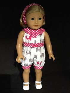 fits American Girl doll or 18 inch doll.  Rompers by ASewSewShop