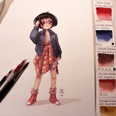 Grungy outfit. The colors on the right side are the colors  I used painting this. (for those who always asking) #grungegirl #grungefashion #grungestyle #90s #girl #art #artist #artistsoninstagram #illustration #illustrator #characterdesign #comic #cartoon #watercolor #watercolour #watercolors #aquarelle #aquarell #schminckehoradam #danielsmithwatercolors #grungeteens by iraville