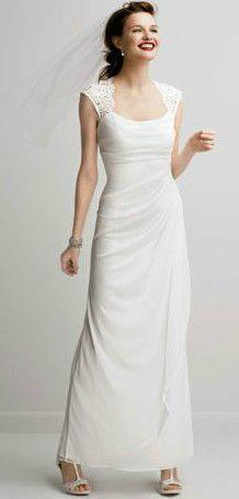 DB Studio Lace Cap Sleeve Long Matte Mesh Dress Style XS3450 #davidsbridal #weddingdress