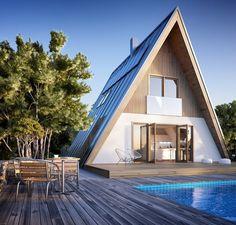 The Trio - Avrame Timber Frame Home Plans, A Frame House Plans, A Frame Cabin, Timber Frame Homes, A Frame Homes, Metal Homes, Triangle House, Affordable Housing, Kit Homes