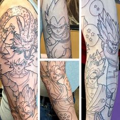 I promised some linework! Here's the #dragonballz full sleeve I started yesterday. So many huge tattoos this month! #animetattoo #goku #vegeta #supersaiyangod