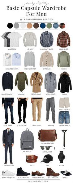 A Basic Year-Round Capsule Wardrobe for Men. # mens dressy Casual Outfits A Basic Year-Round Capsule Wardrobe for Men Capsule Wardrobe Men, Men's Wardrobe, Mens Wardrobe Essentials, Wardrobe Ideas, Wardrobe Basics, Capsule Clothing, Bedroom Wardrobe, Wardrobe Staples, Mens Dress Sneakers