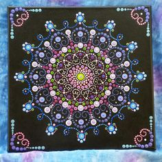 Hand painted Spectacular Dot Mandala painting (inspired by Kristin Uhrig) on a 12 X 12 stretched canvas. Embellished with 53 Swarovski Crystals, this beautiful piece would be an excellent gift for a special celebration - or display in your own home! Free shipping on orders over $